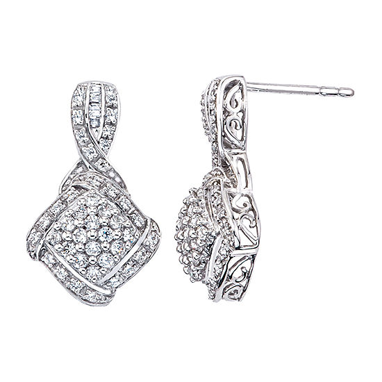 1 2 Ct Tw Genuine White Diamond Sterling Silver Drop Earrings
