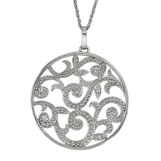 Womens 1/8 CT. T.W. Genuine White Diamond Sterling Silver Pendant Necklace