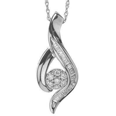 Womens 1/5 CT. T.W. Genuine White Diamond Pendant Necklace