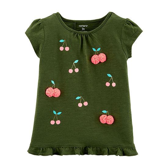 Carter's Girls Round Neck Short Sleeve Embellished Graphic T-Shirt-Toddler