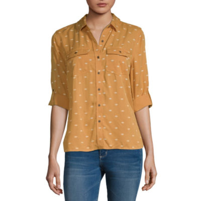 a.n.a. Womens Long Sleeve Blouse