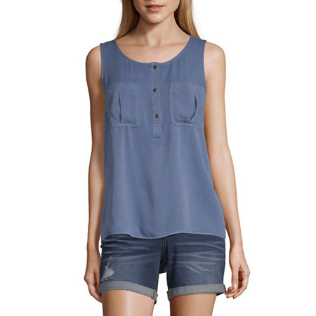 a.n.a Womens Round Neck Sleeveless Tank Top, X-small , Blue
