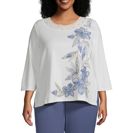 Alfred Dunner Plus Palo Alto Womens Crew Neck 3/4 Sleeve T-Shirt, 3x , White