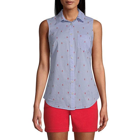 St. John's Bay-Tall Womens Sleeveless Classic Fit Button-Down Shirt