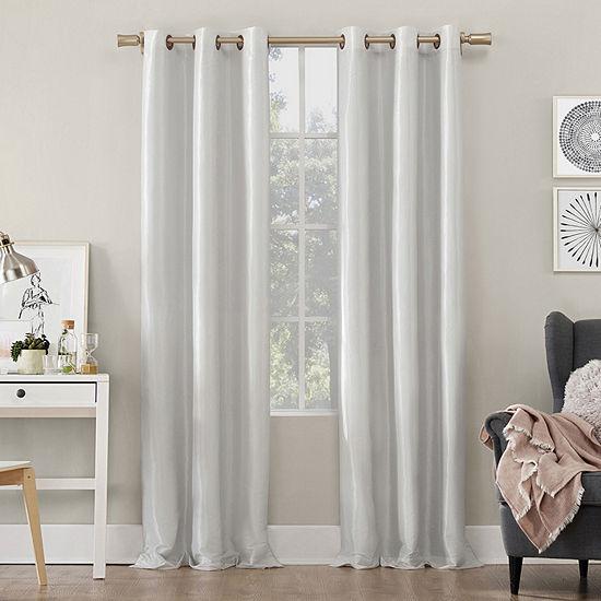 Sun Zero Bardot Dupioni Faux Silk Energy Saving 100% Blackout Grommet-Top Single Curtain Panel