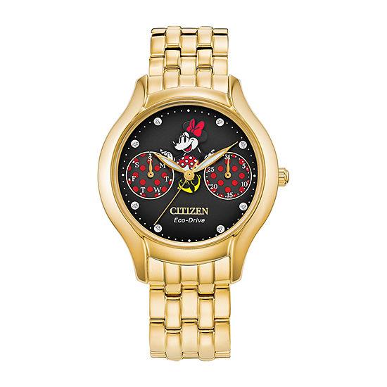Citizen Disney Minnie Mouse Womens Gold Tone Stainless Steel Bracelet Watch - Fd4018-55w