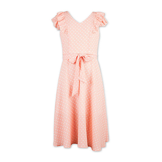 Speechless Big Girls Short Sleeve Polka Dot Maxi Dress