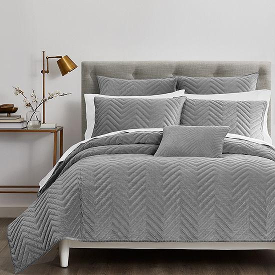 Fieldcrest Luxury Cotton Chevron Velvet Quilt