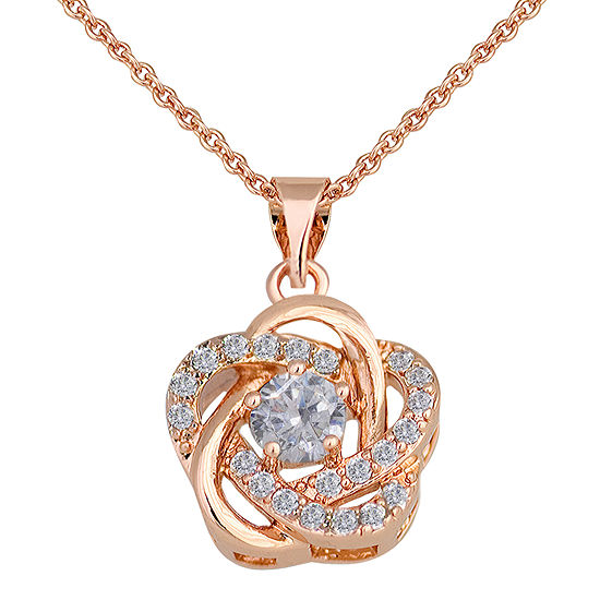 Sparkle Allure™ Cubic Zirconia Rose-Tone Floral Pendant Necklace