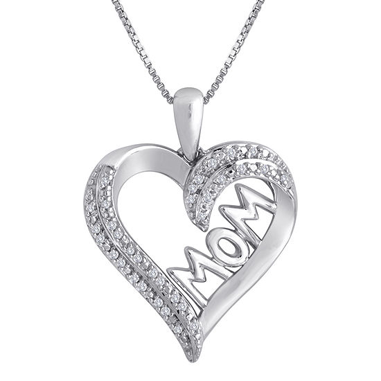 "1/10 CT. T.W. Diamond ""MOM"" Heart Necklace in  Sterling Silver"