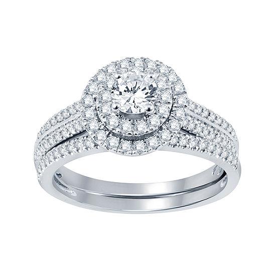 1 Ct T W Diamond Bridal Set Color White Gold Jcpenney
