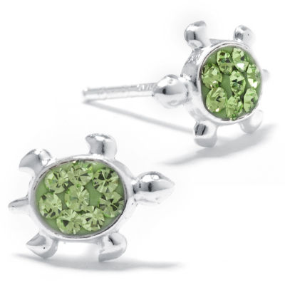 Silver Treasures Sterling Silver Crystal Turtle Green 10mm Stud Earrings
