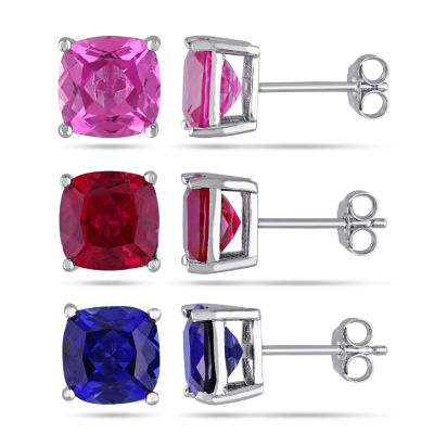 Lab Created Multi Color Sapphire Sterling Silver Square 3 Pair Jewelry Set