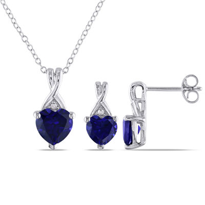 Lab Created Blue Sapphire Sterling Silver Heart 2-pc. Jewelry Set