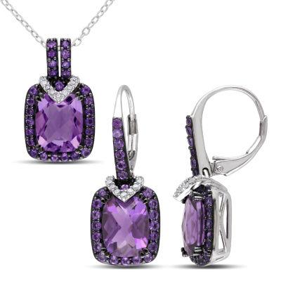 Womens Genuine Purple Amethyst Sterling Silver 2-pc. Jewelry Set