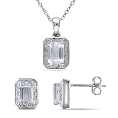 1/8 CT. T.W. Genuine Blue Aquamarine Sterling Silver 2-pc. Jewelry Set
