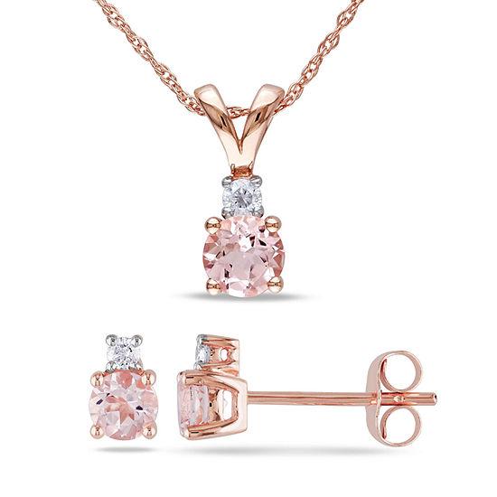 1/10 CT. T.W. Genuine Pink Morganite 10K Gold 2-pc. Jewelry Set