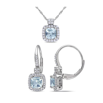 1/3 CT. T.W. Genuine Blue Aquamarine 10K Gold 2-pc. Jewelry Set