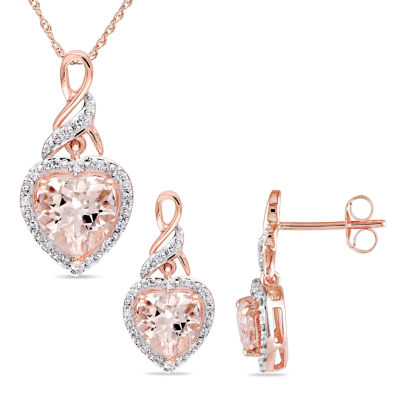1/5 CT. T.W. Genuine Pink Morganite 10K Gold Heart 2-pc. Jewelry Set