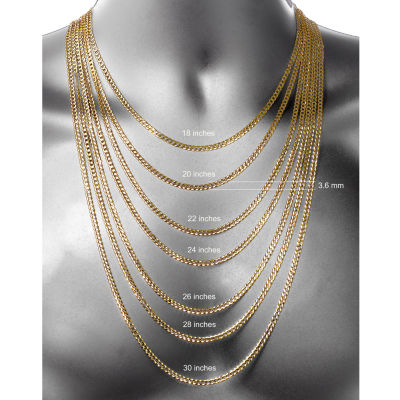 14K Two Tone 3.65MM Diamond Cut Curb Necklace 26""