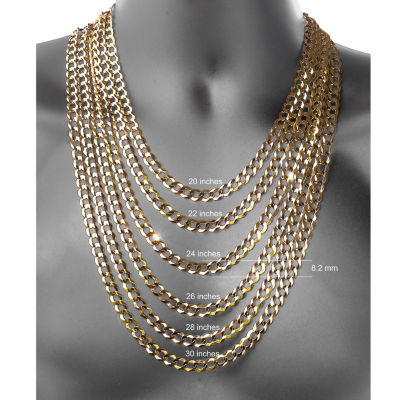 10K Yellow Gold 8.2MM Curb Necklace 24""
