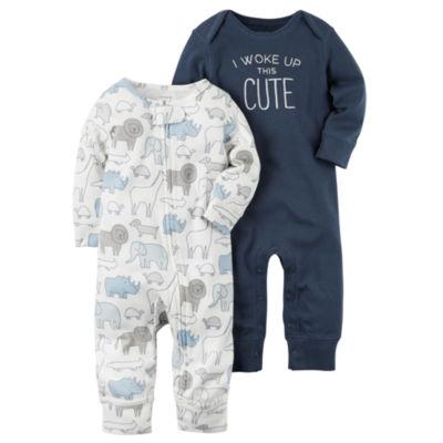 Carter's Little Baby Basics Boy 2-pk. Long Sleeve Jumpsuits - Baby
