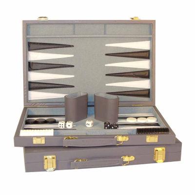 "WorldWise Imports 15"" Grey Vinyl Backgammon Set"""