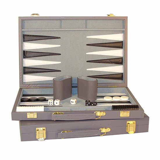 Worldwise Imports 15-Inch Grey Vinyl Backgammon Set Backgammon