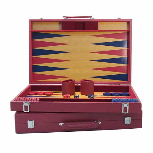 "WorldWise Imports 20"" Burgundy and Blue Wood Tournament Attache Backgammon"""