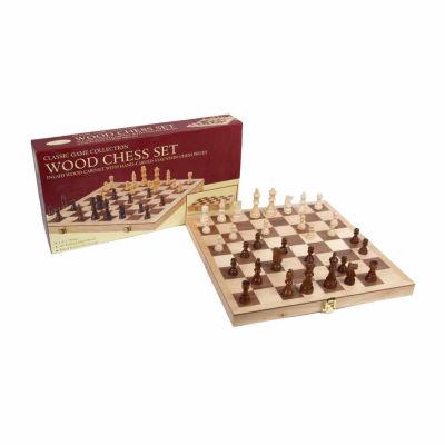 """John N. Hansen Co. 10.5"""" Deluxe Folding Wood ChessSet"""""""