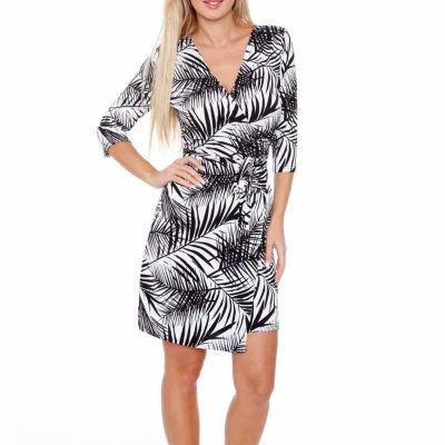 White Mark Mariah 3/4 Sleeve Abstract Wrap Dress