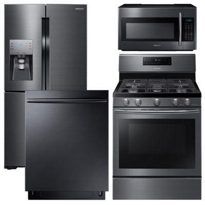 Samsung 4-pc. Gas Kitchen Package - Black Stainless Steel