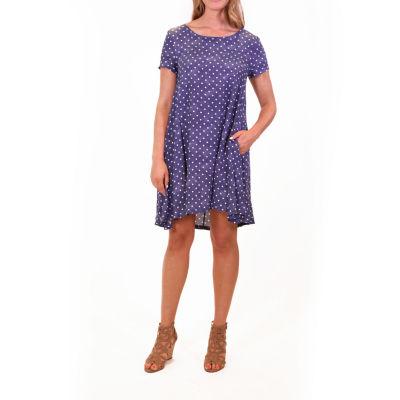 Nina Leonard Short Sleeve Trapeze Dress