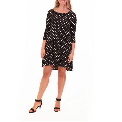 Nina Leonard High/Low Pocket Trapeze Dress