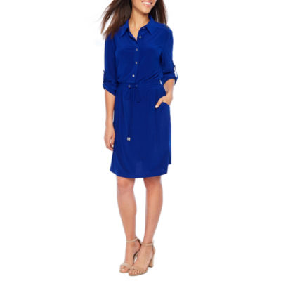 Emma And Michele 3/4 Sleeve Shirt Dress