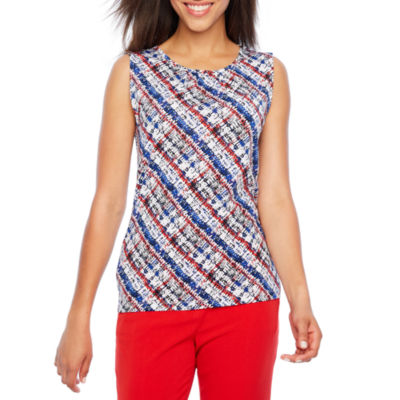 Chelsea Rose Sleeveless Jewel Neck Blouse