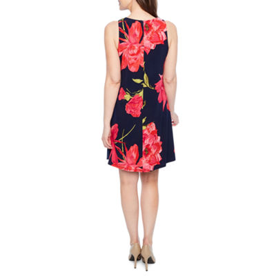 Black Label by Evan-Picone Sleeveless Floral Swing Dresses