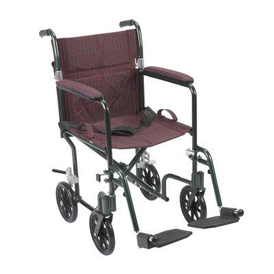 """Drive Medical Flyweight Lightweight Folding Transport Wheelchair  19""""  Green Frame  Burgundy Upholstery"""
