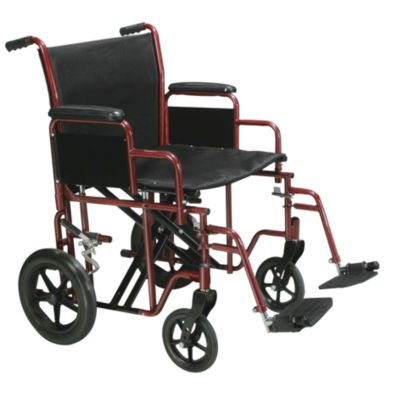 "Drive Medical Bariatric Heavy Duty Transport Wheelchair with Swing Away Footrest  22"" Seat  Red"