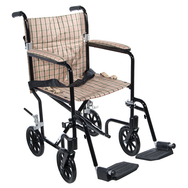 "Drive Medical Flyweight Lightweight Folding Transport Wheelchair  19""  Black Frame  Tan Plaid Upholstery"