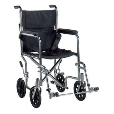 "Drive Medical Go Cart Light Weight Steel TransportWheelchair with Swing Away Footrest  19"" Seat"