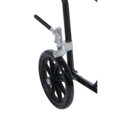 "Drive Medical Flyweight Lightweight Folding Transport Wheelchair  19""  Blue Frame  Black Upholstery"