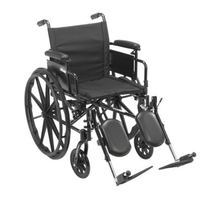 """Drive Medical Cruiser X4 Lightweight Dual Axle Wheelchair with Adjustable Detachable Arms  Desk ArmsElevating Leg Rests  20"""" Seat"""
