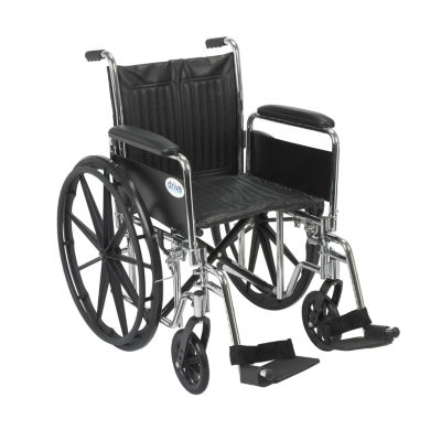 "Drive Medical Chrome Sport Wheelchair  DetachableFull Arms  Swing away Footrests  20"" Seat"