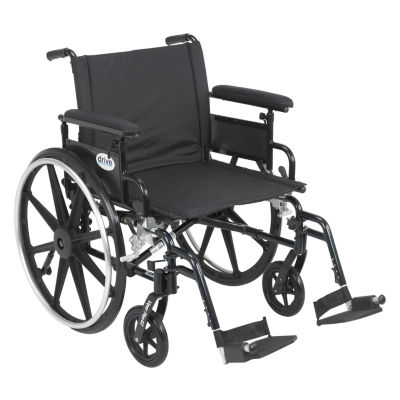 """Drive Medical Viper Plus GT Wheelchair with Flip Back Removable Adjustable Full Arms  Swing away Footrests  22"""" Seat"""