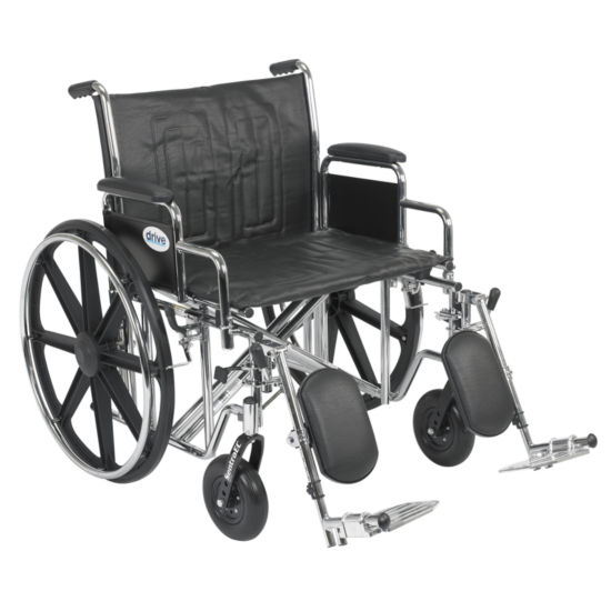 Drive Medical Sentra EC Heavy Duty Wheelchair, Detachable Desk Arms, Elevating Leg Rests