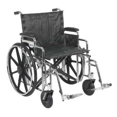 Drive Medical Sentra EC Heavy Duty Wheelchair, Detachable Desk Arms, Swing away Footrests