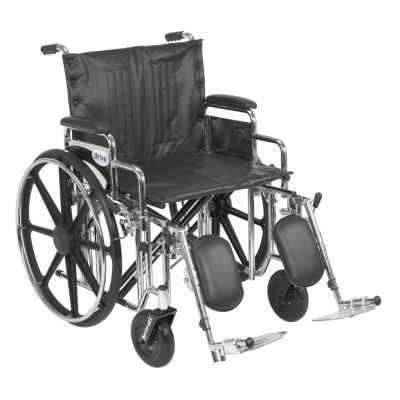 """Drive Medical Sentra Extra Heavy Duty WheelchairDetachable Desk Arms  Elevating Leg Rests  22"""" Seat"""