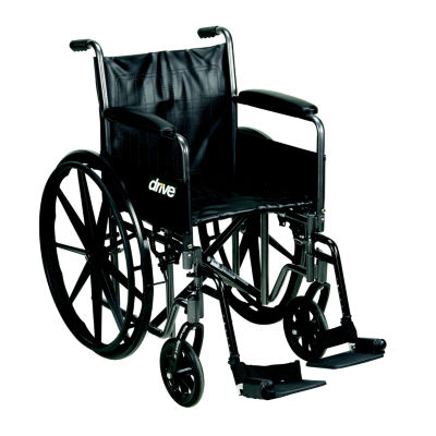 "Drive Medical Silver Sport 2 Wheelchair  Detachable Full Arms  Swing away Footrests  18"" Seat"