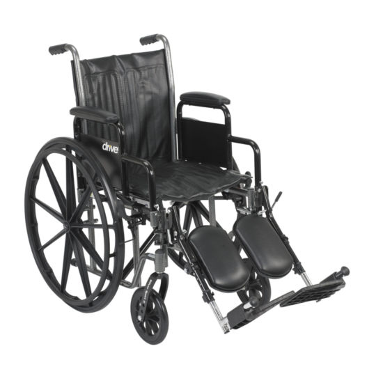 Drive Medical Silver Sport 2 Wheelchair, Detachable Full Arms, Swing away Footrests